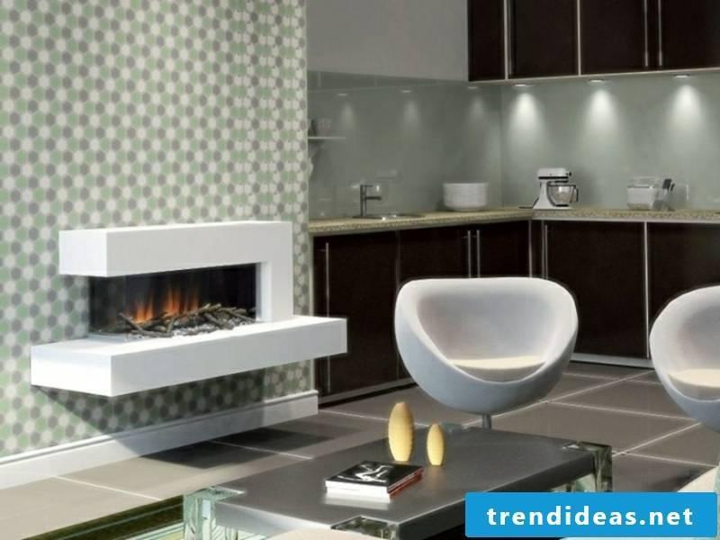 beautiful modern mini-fireplace