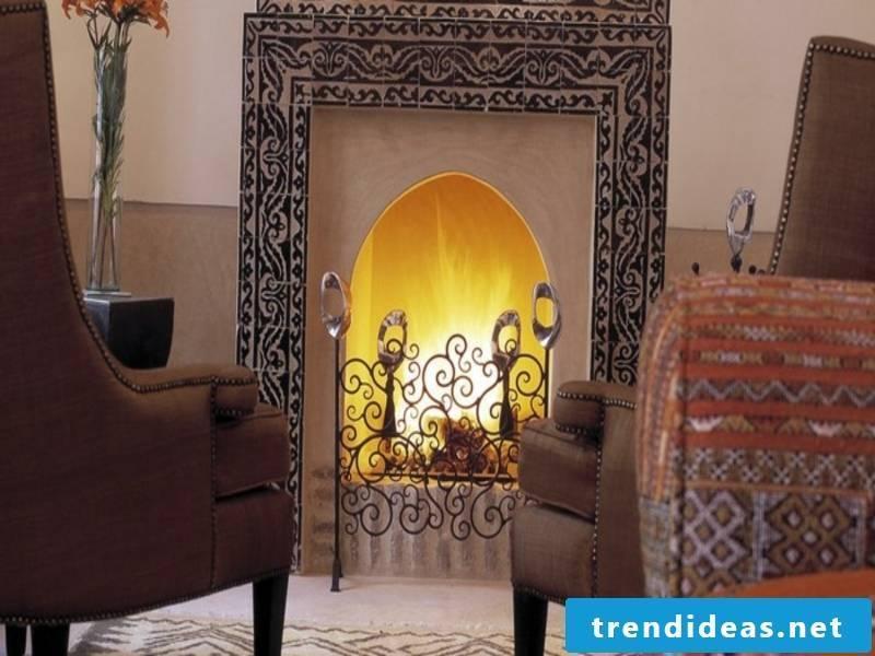 modern moroccan fireplace
