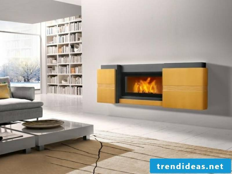 elegant yellow cladding for the fireplace