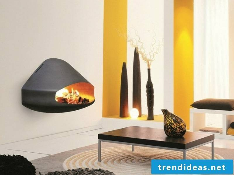 modern fireplace mounted on the wall