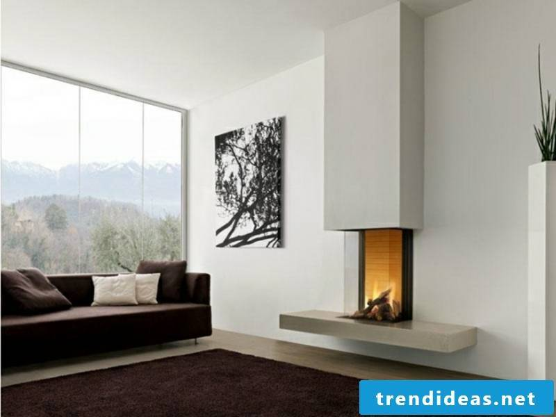 gray fireplace with glass decoration