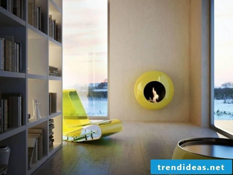 round green fireplace