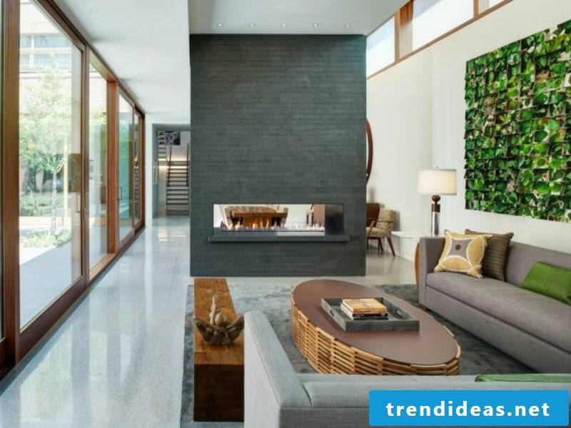 modern beautiful gas fireplace in the living room