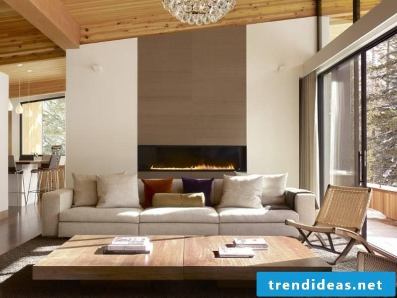 designer elegant fireplace behind the sofa