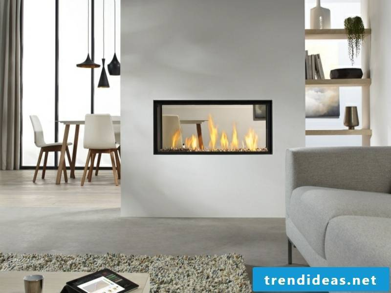 glass fireplace as a room divider