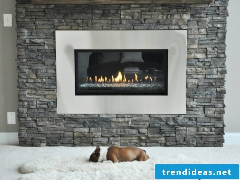 glass fireplace and gray colors on the wall