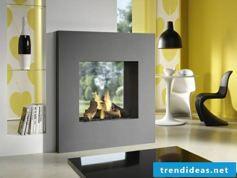double-sided glass fireplace