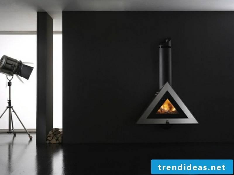 designer hanging fireplace in black