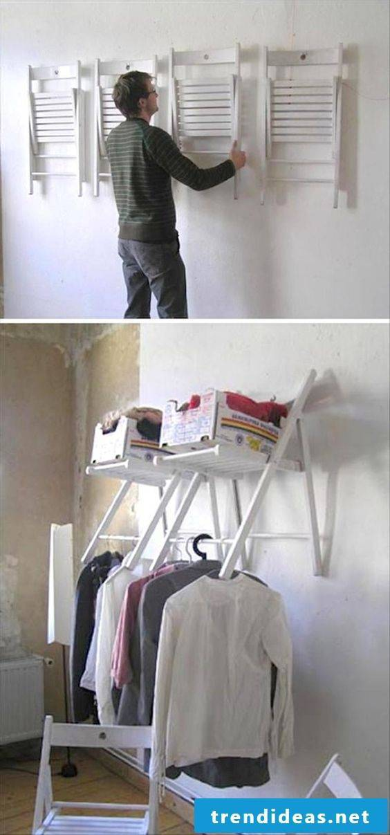 Do it yourself wall decoration with old chairs