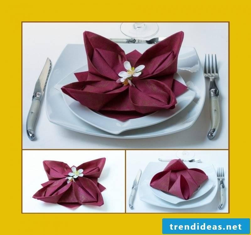 napkin wrinkle seerose-burgundy
