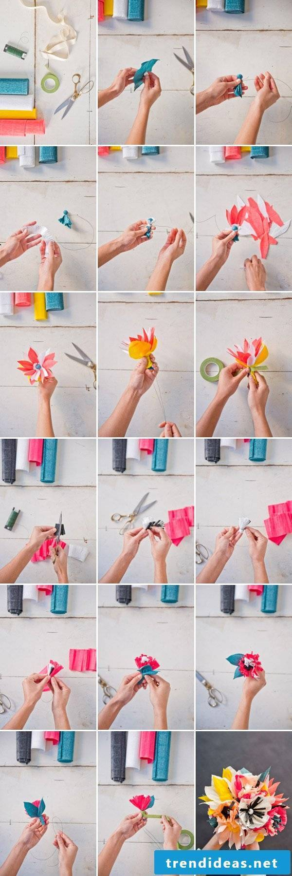 Origami flowers fold from crepe paper