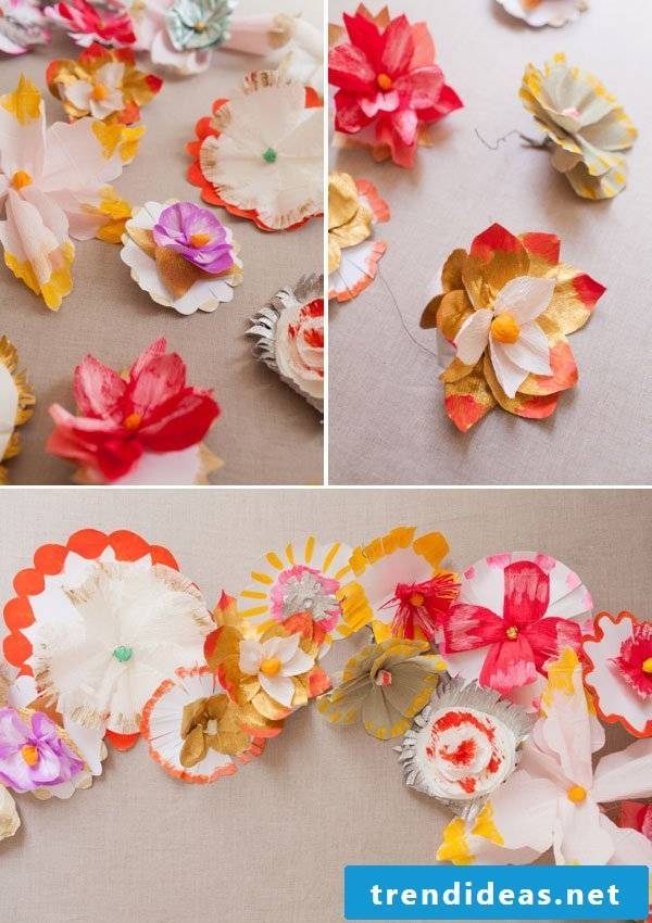 Origami flowers as a decoration