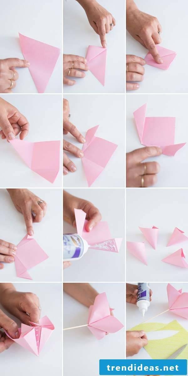 Folding origami flowers