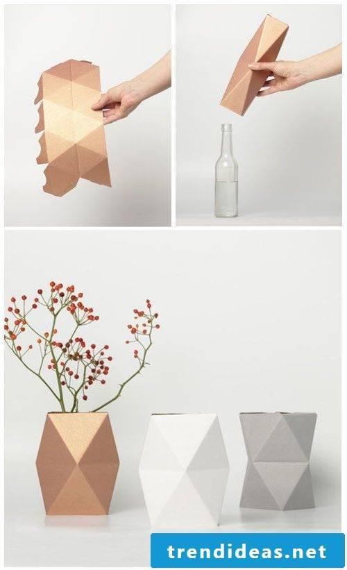 Minimalist vases in copper color