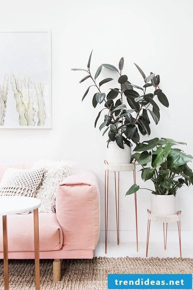 Dekoideen Living Room: DIY plant stand in copper color