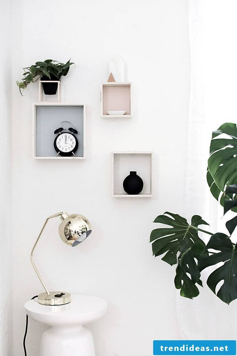 Decoration Living Room: DIY wall shelves instead of pictures for living room