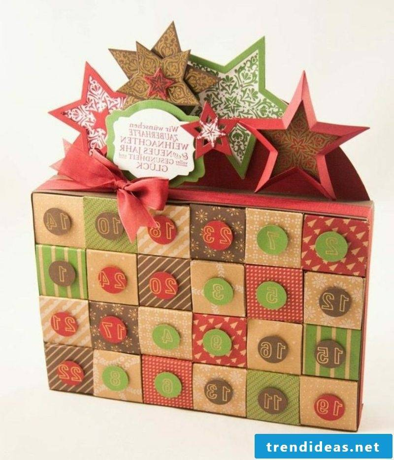 Advent calendar colorful boxes made by yourself