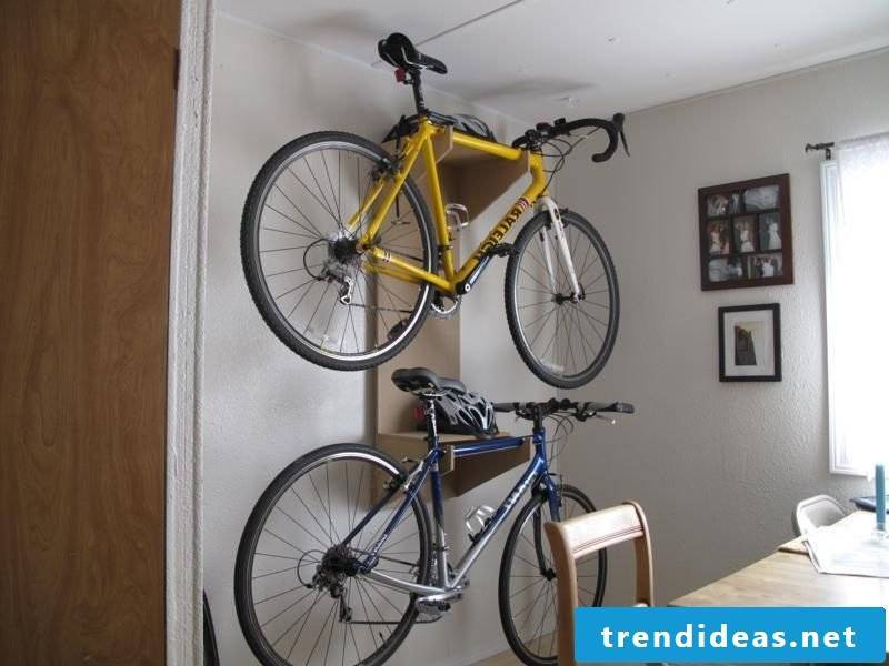 Bicycle mount for wall for two bicycles