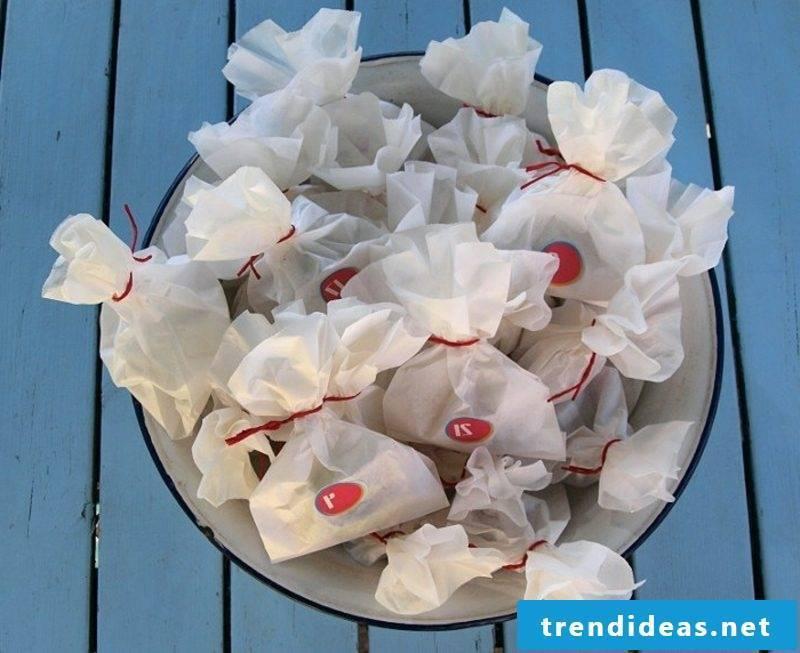 Advent calendars arrange bread bags