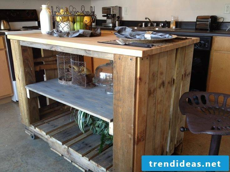 Counter made of europallets for the kitchen