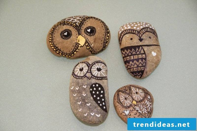 painted stones brown owls