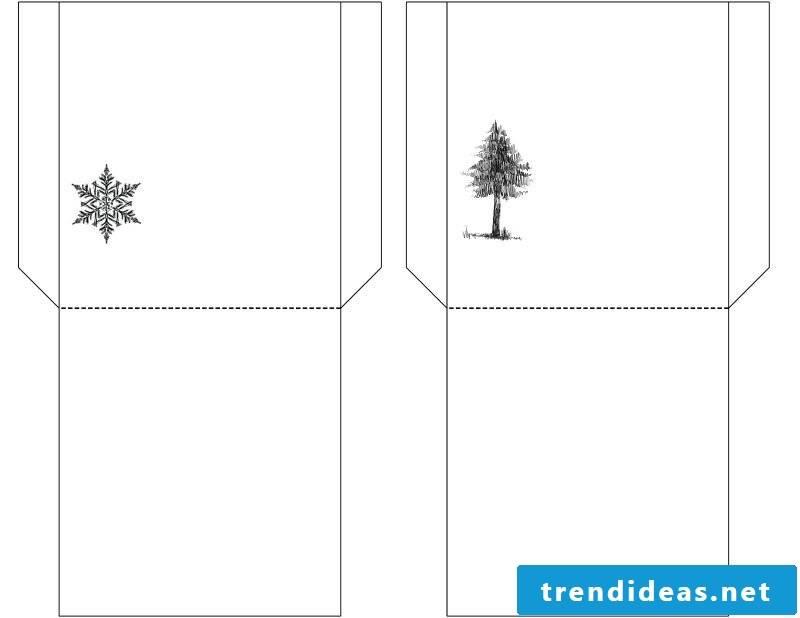 Christmas motives for printing template for folding