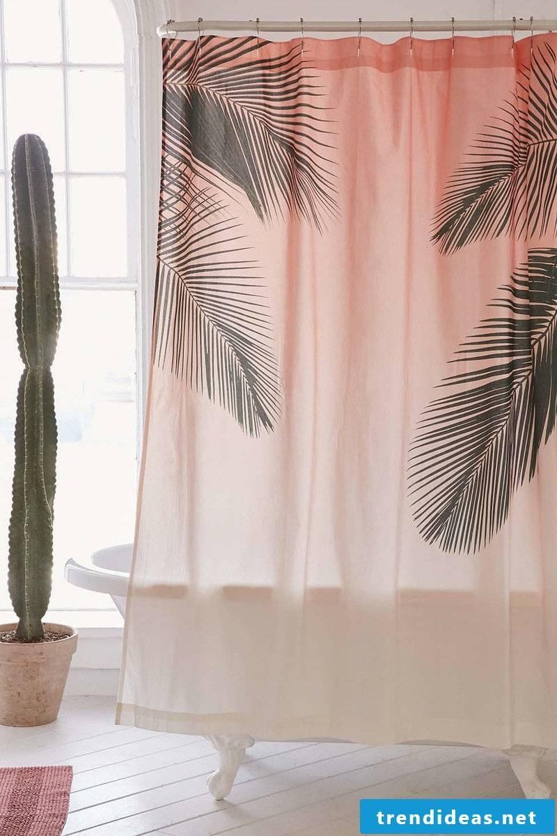 shower curtain pink palms deco ideas cactus flowers modern bathroom ideas