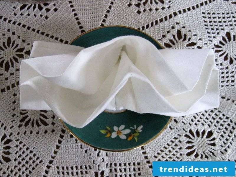 Napkins folding compartments instructions double compartments Step 4