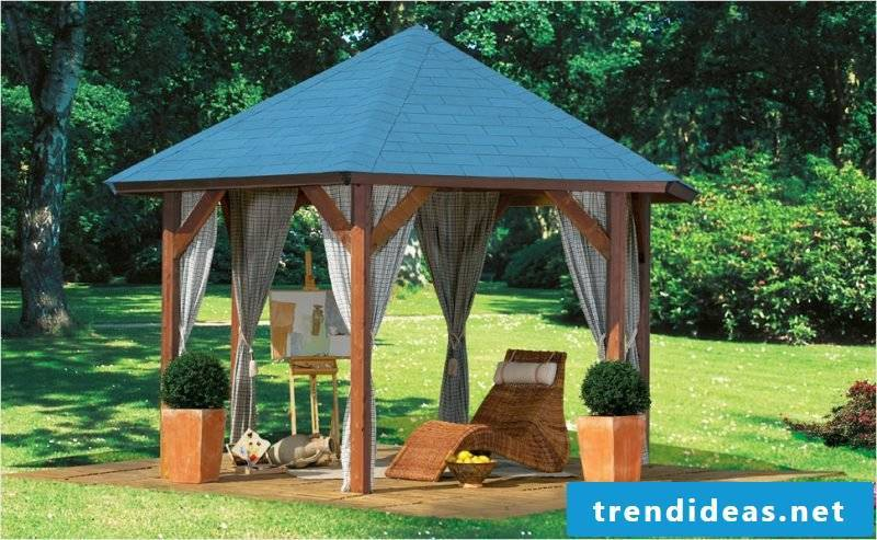 gazebo itself build in the middle of the garden