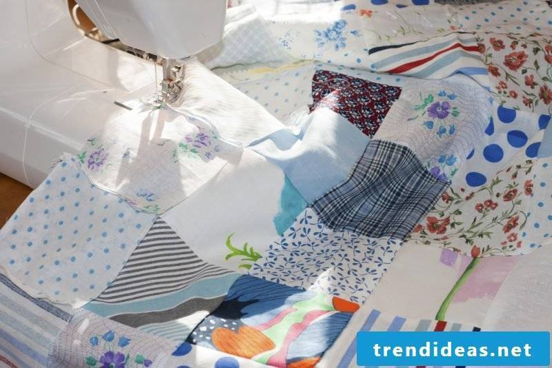 Sew on patchwork blanket