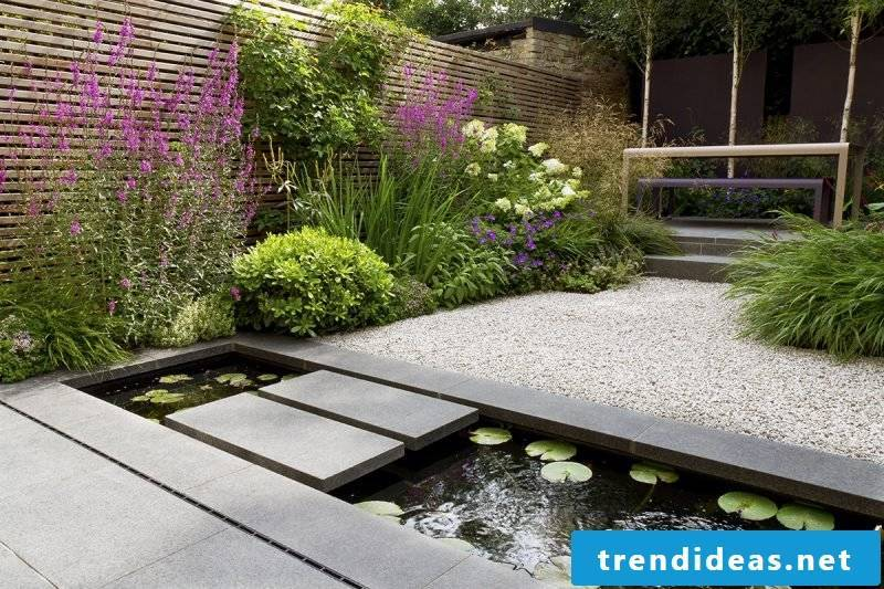 Creating Kisgarten: Gravel is perfectly combined with a garden pond