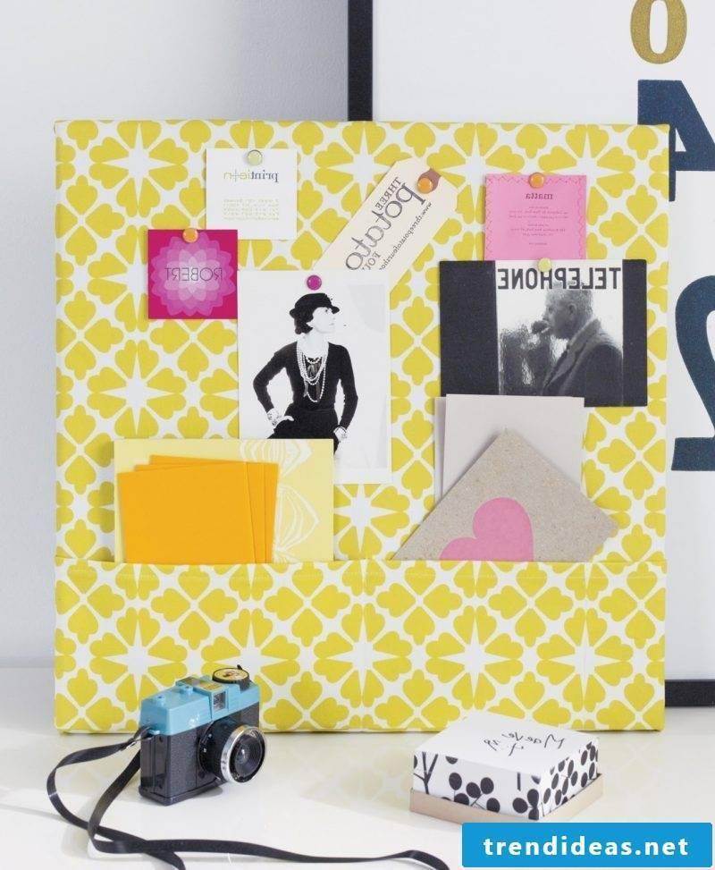 Memo board itself make yellow fabric