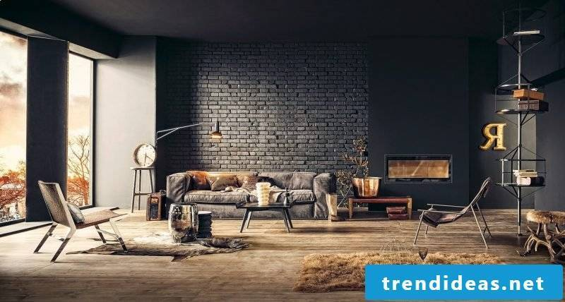 Wall design living room ideas black color