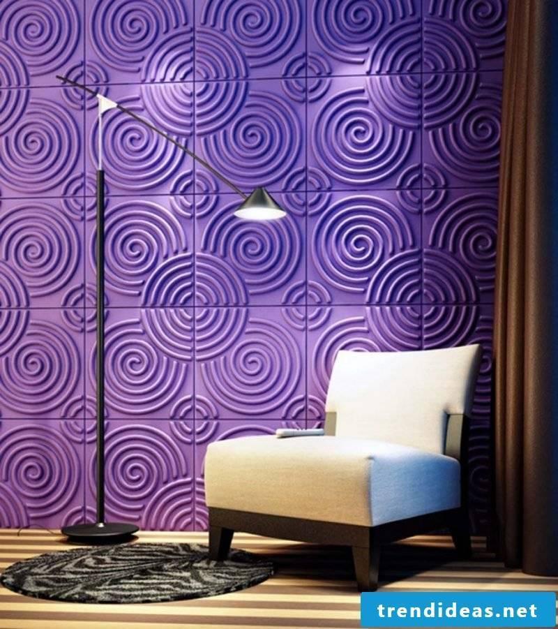 wall design living room ideas colors purple