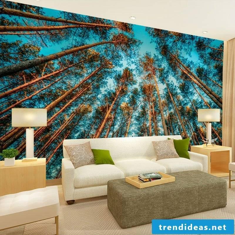 wall design living room ideas wall wallpaper landscape motifs