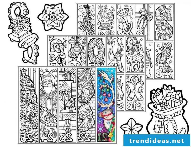 Christmas motives for printing mandala