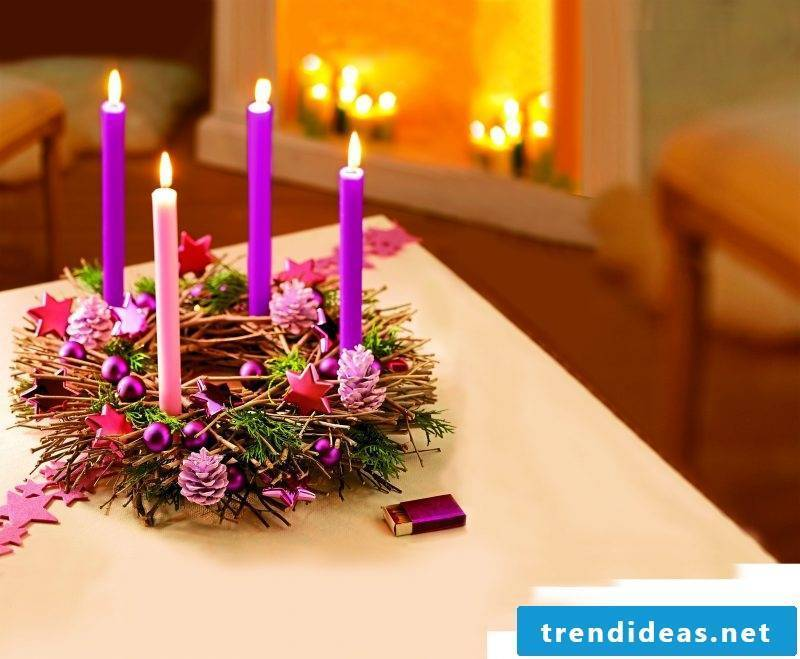 Order Advent wreath and decorate in purple