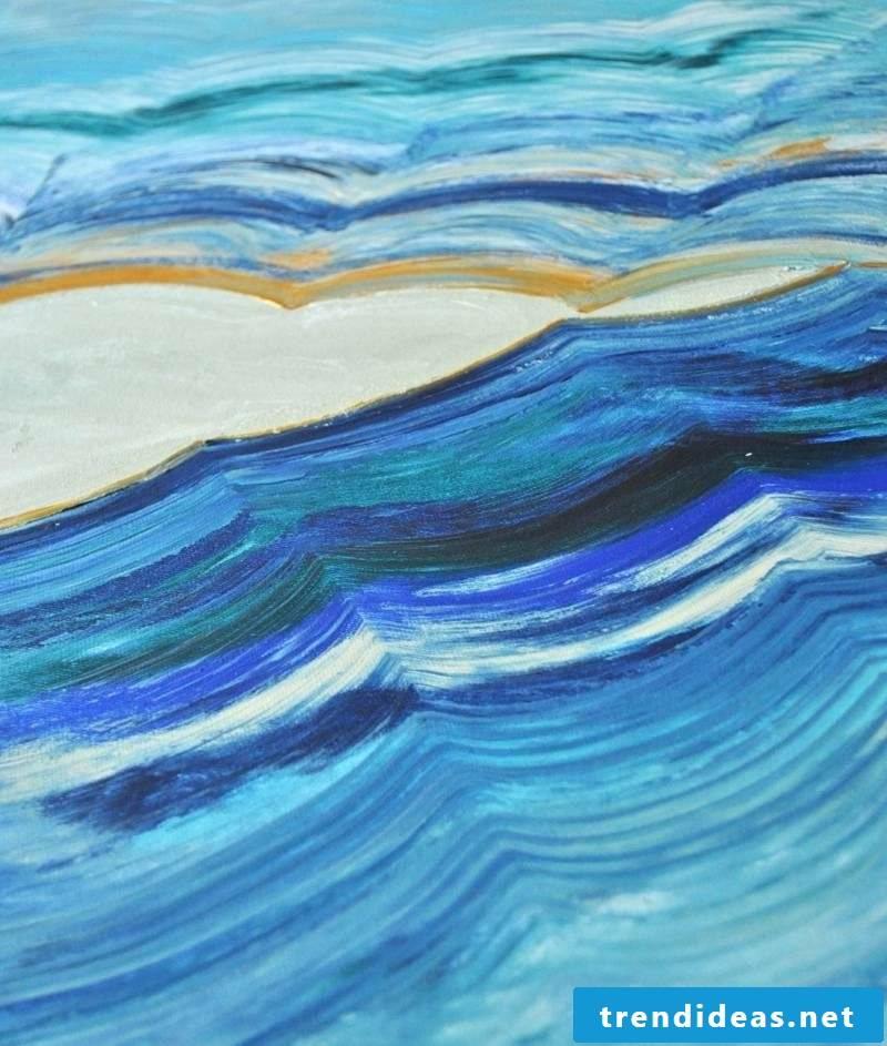 Canvas paint sea