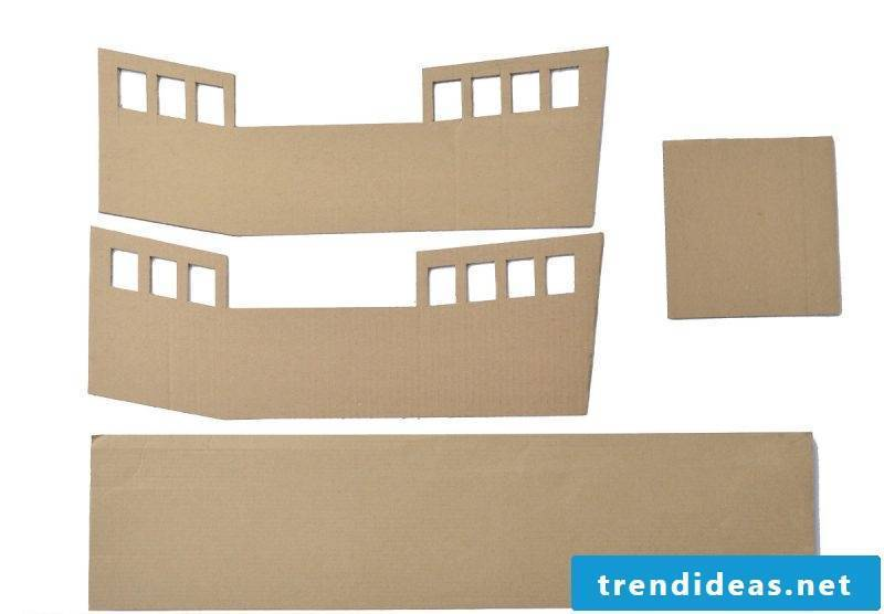 Crafting ideas for children: The template for a pirate ship