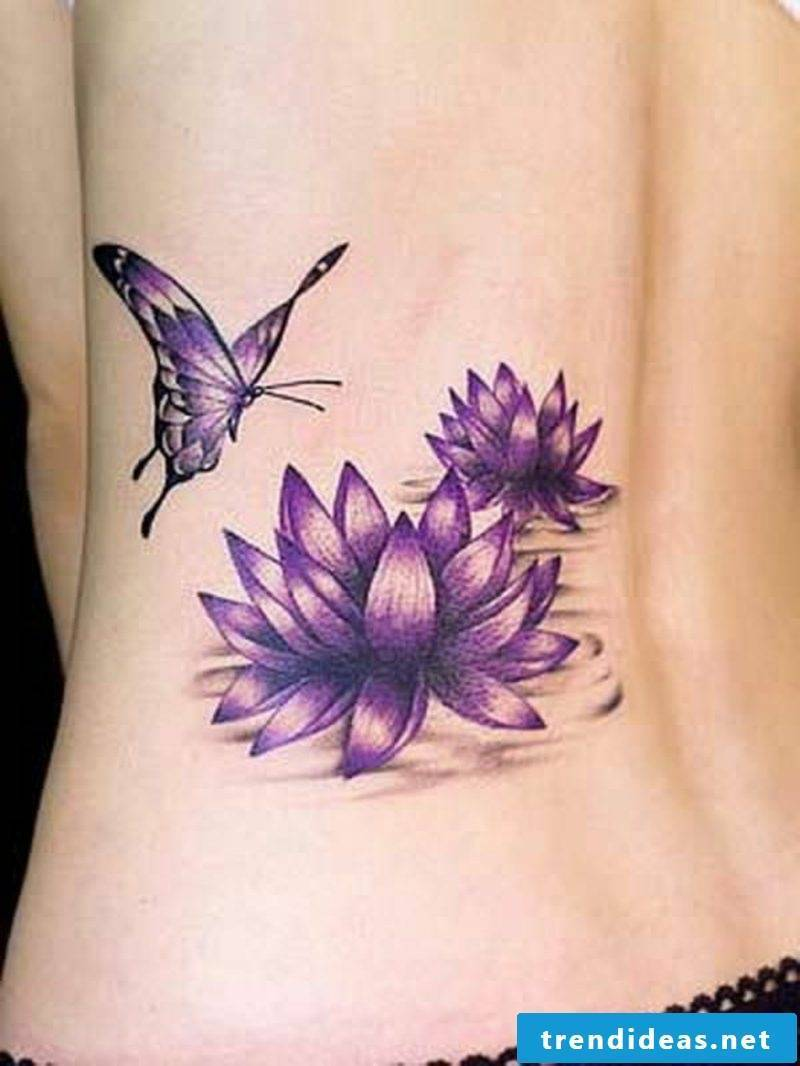 Lilies Tattoos two water lilies and butterfly
