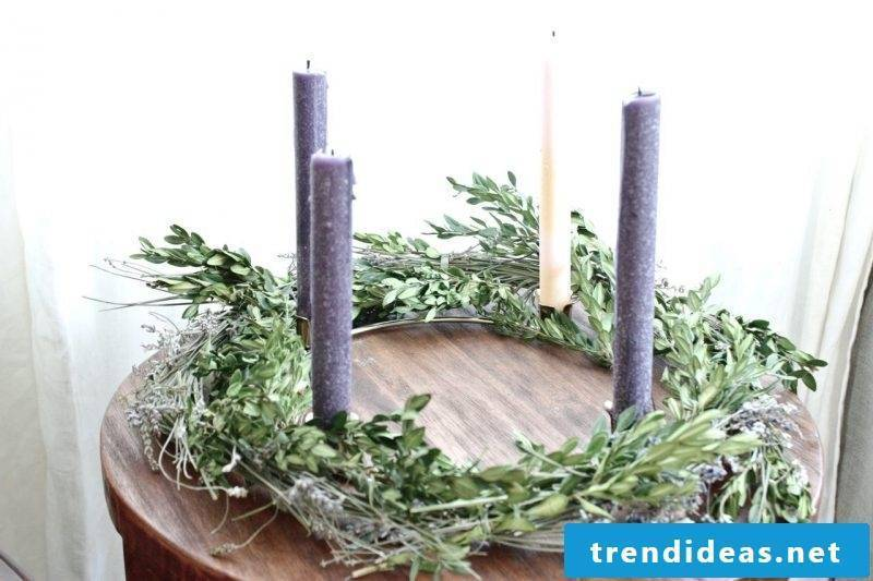 Advent wreath order modern design with high candles