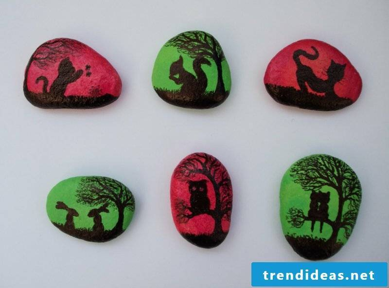 painted stones cat owl bunny