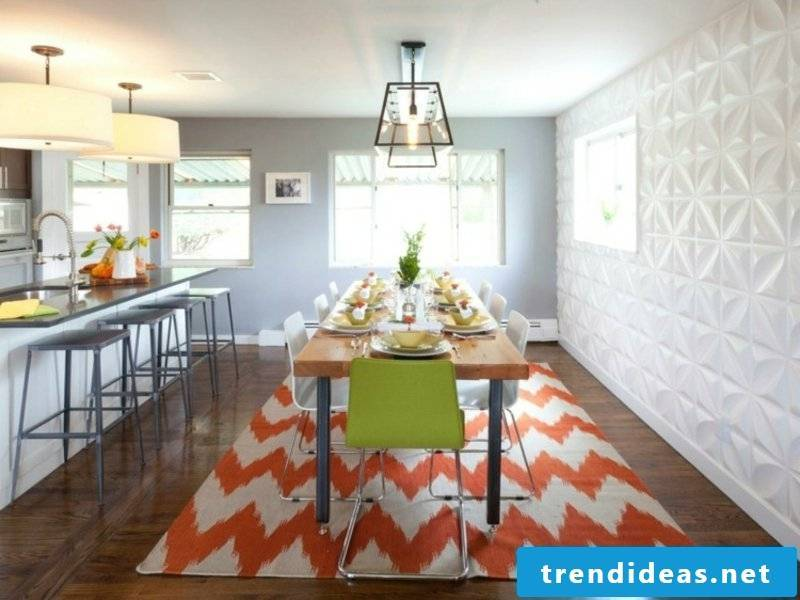 modern zig-zag dream carpet in the dining room
