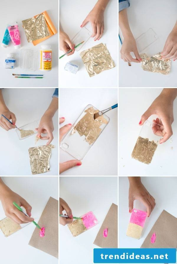 DIY Mobile Phone Cover with Gold Foil
