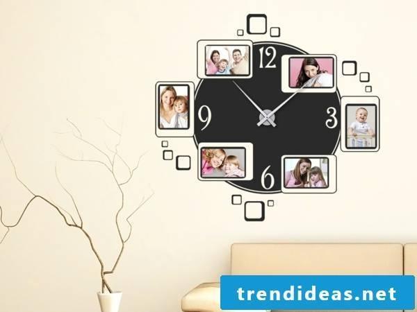 Wall clock with family photos