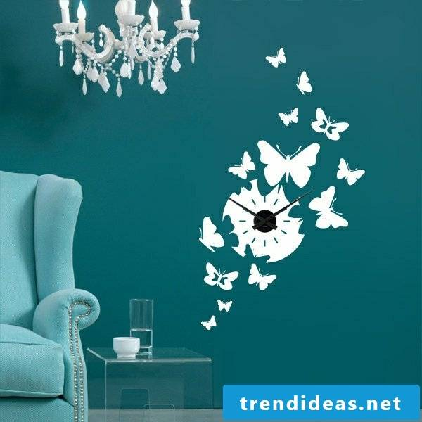 Painted butterflies on the wall