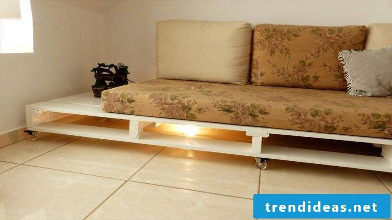 Sofa made of europallets with LED lighting