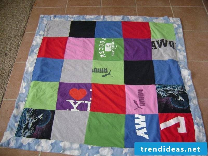 Patchwork blanket sew out of clothes