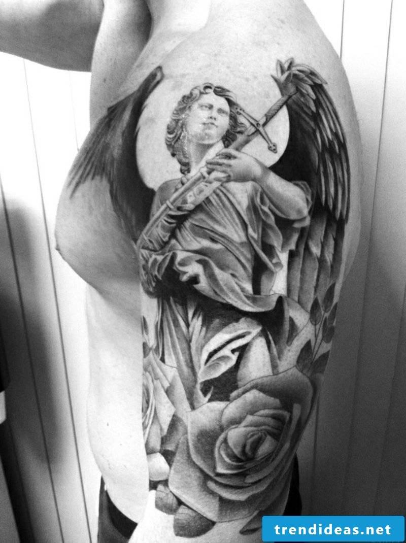 angel tattoo angel guardian roses