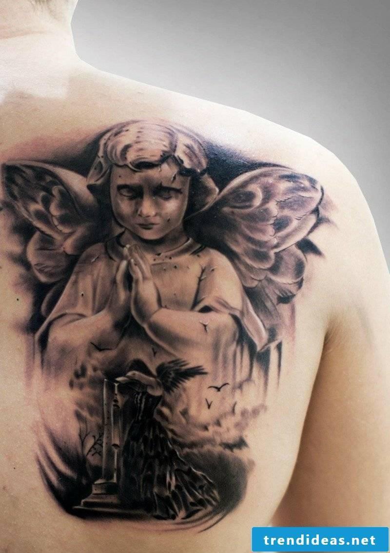 angel tattoo beautiful praying cherub